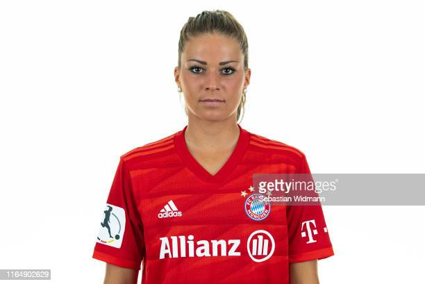 Melanie Leupolz of FC Bayern Muenchen poses during the Women's Team Presentation at FC Bayern Campus on July 26 2019 in Munich Germany