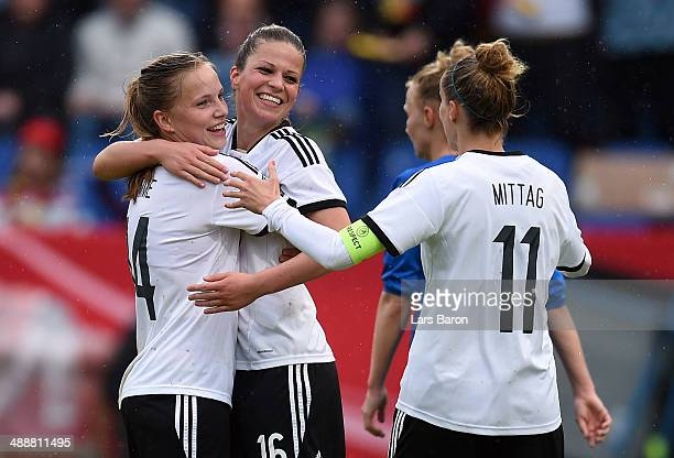 Melanie Leupolz of Germany celebrates with team mates after scoring a goal during the FIFA Women's World Cup 2015 Qualifier between Germany and...