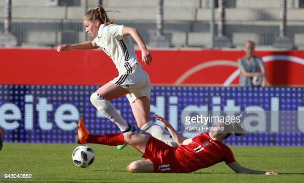 Melanie Leupolz of Germany challenges Tereza Krejcirikova of Czech Republic during the 2019 FIFA Womens World Championship Qualifier match between...