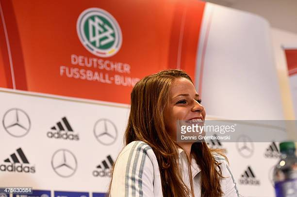 Melanie Leupolz of Germany faces the media during a press conference at The Shaw Centre on June 2 2015 in Ottawa Canada