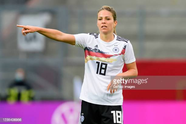 Melanie Leupolz of Germany gestures during the FIFA Women's World Cup 2023 Qualifier group H match between Germany and Serbia at Stadion an der...