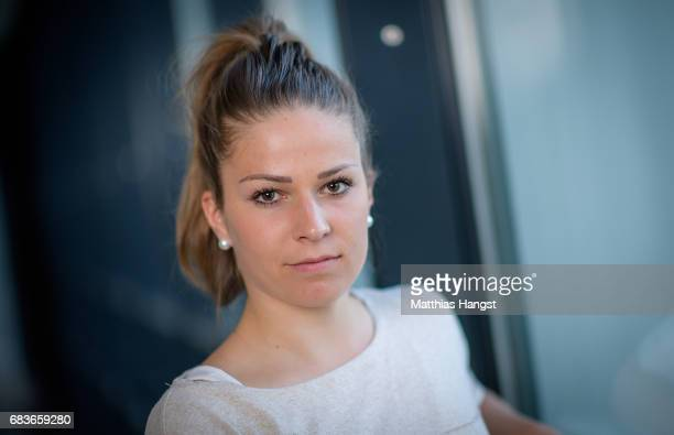 Melanie Leupolz of Germany poses for a portrait during the DFB Ladies Marketing Day at Commerzbank Arena on April 3 2017 in Frankfurt am Main Germany