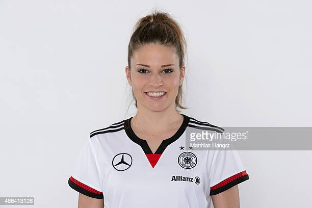 Melanie Leupolz of Germany poses for a portrait during the DFB Women's Marketing Day at the CommerzbankArena on January 14 2015 in Frankfurt am Main...
