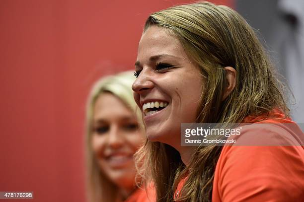 Melanie Leupolz of Germany reacts during a press conference at Montreal Convention Centre on June 23 2015 in Montreal Canada