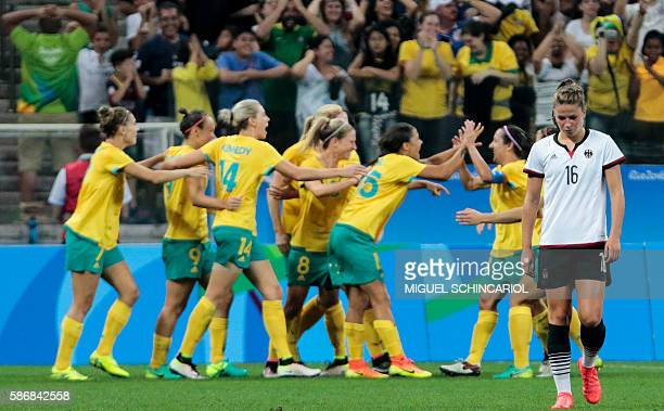 TOPSHOT Melanie Leupolz of Germany shows her dejection after Caitlin Foord of Australia scored against them during their Rio 2016 Olympic Games First...