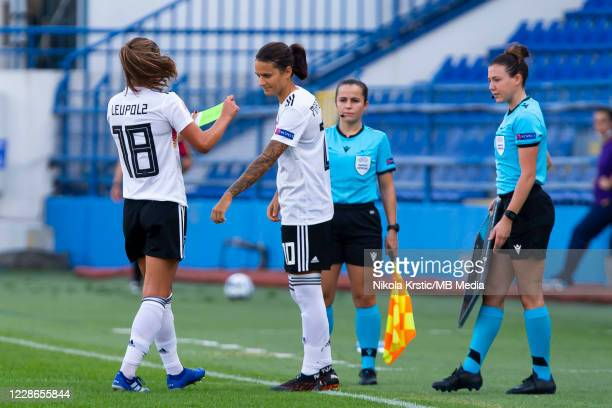 Melanie Leupolz of Germany substituted by Dzsenifer Marozsan of Germany during the UEFA Women's EURO 2022 Qualifier match between Montenegro and...