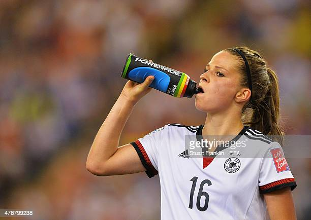 Melanie Leupolz of Germany takes a drink during the quarter final match of the FIFA Women's World Cup between Germany and France at Olympic Stadium...