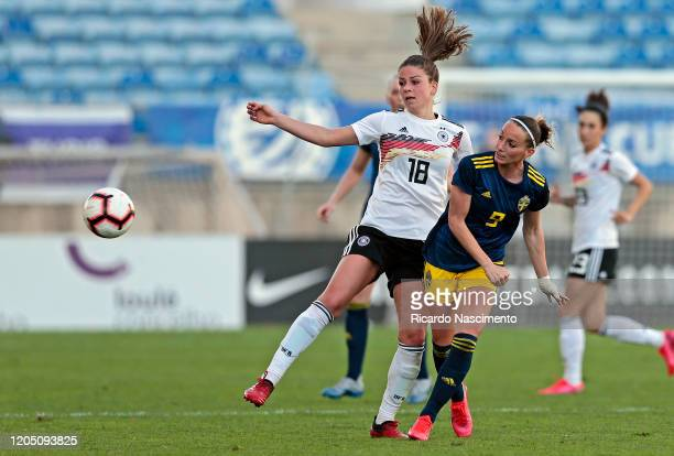 Melanie Leupolz of Germany Women battles for the ball with Kosovare Asllani of Sweden Women during the Algarve Cup match between Germany and Sweden...