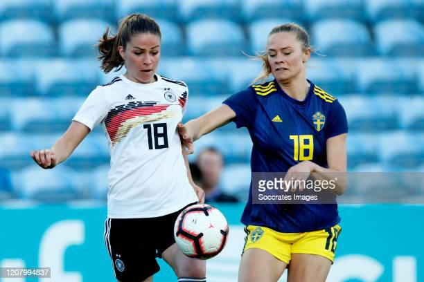 Melanie Leupolz of Germany Women Fridolina Rolfo of Sweden Women during the Algarve Cup Women match between Germany v Sweden at the Estadio Algarve...