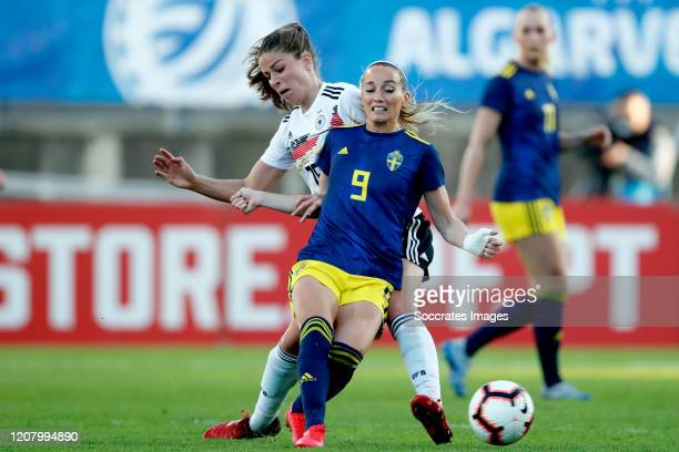 Melanie Leupolz of Germany Women Kosovare Asllani of Sweden Women during the Algarve Cup Women match between Germany v Sweden at the Estadio Algarve...