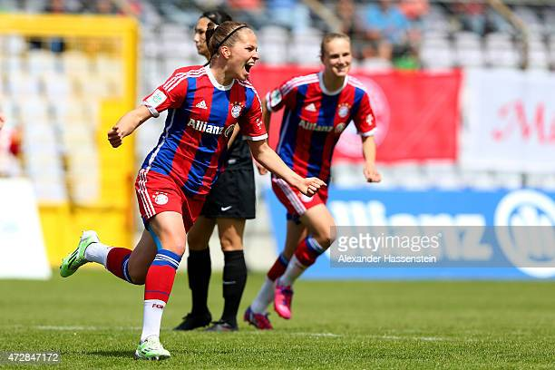 Melanie Leupolz of Muenchen celebrates scoring the opening goal during the Allianz FrauenBundesliga match between FC Bayern Muenchen and SGS Essen at...