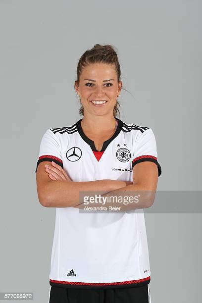 Melanie Leupolz of the German women's national football team poses during the team presentation on June 21 2016 in Grassau Germany