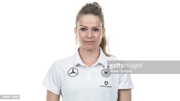Melanie Leupolz poses during the DFB Ladies Marketing Day on April 3 2017 in Frankfurt am Main Germany
