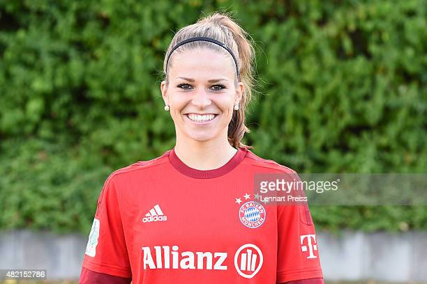 Melanie Leupolz poses during the team presentation of the FC Bayern Muenchen women's team on July 27 2015 in Munich Germany