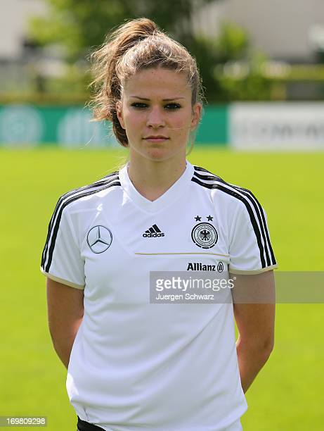 Melanie Leupolz poses during the team presentation of the German Womens' National Soccer Team at Sportschule Kaiserau on June 2 2013 in Kamen Germany