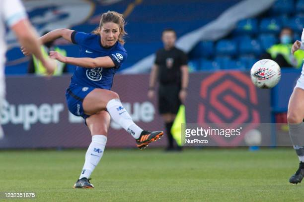 Melanie Leupolz scores during the 2020-21 FA Womens Cup fixture between Chelsea FC and London City at Kingsmeadow on April 16, 2021 in Kingston upon...