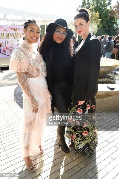 Melanie Liburd, Angela Bassett and Shailene Woodley attend JNSQ Rose Cru debuts alongside Rodarte FW/19 Runway Show at Huntington Library on February...