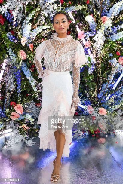 Melanie Liburd attends Rodarte FW19 Fashion Show at The Huntington Library and Gardens on February 05 2019 in San Marino California