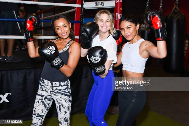 Melanie Liburd, Liz Plosser and Betina Gozo attend the Women's Health National Workout Buddy Day event at Gloveworx LA at Century City on March 01,...