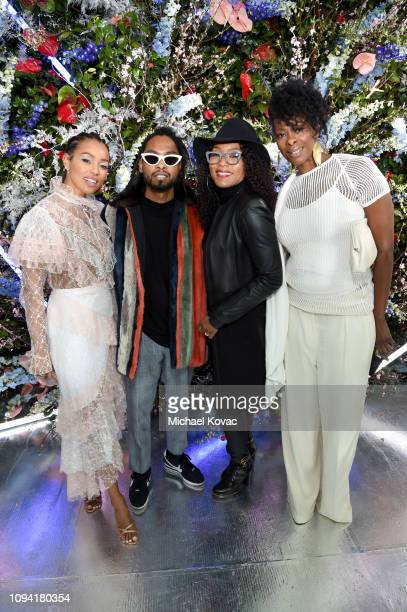 Melanie Liburd, Miguel, Angela Bassett and guest attend JNSQ Rose Cru debuts alongside Rodarte FW/19 Runway Show at Huntington Library on February 5,...