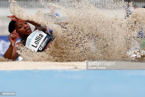Melanie Lollia competes in the triple jump final during the 92nd Australian Athletics Championships at Olympic Park on April 5 2014 in Melbourne...