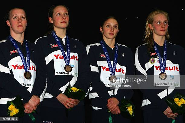 Melanie Marshall Julia Beckett Caitlin McClatchey and Francesca Halsallof United Kingdom receive the bronze medal in the Women's 4 x 100m Freestyle...