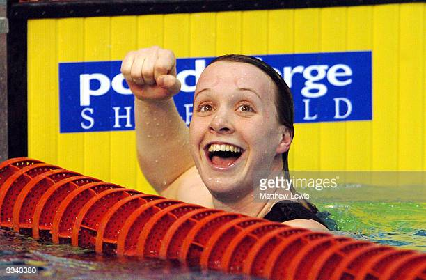 Melanie Marshall of Loughborough University celebrates winning the Womens 100m Freestyle Final during day five of the British Swimming Olympic Trials...