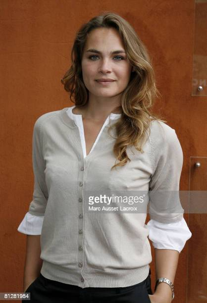 Melanie Maudran arriving at the VIP village during 2008 French Tennis Open at Roland Garros stadium on May 29 2008 in Paris France