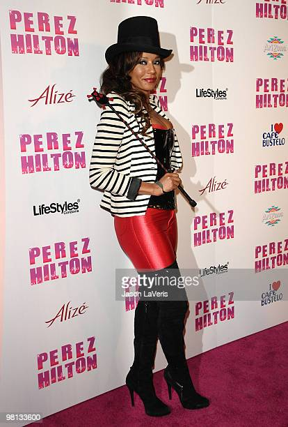 Melanie Mel B Brown attends Perez Hilton's CarnEvil Theatrical Freak and Funk 32nd birthday party at Paramount Studios on March 27 2010 in Los...
