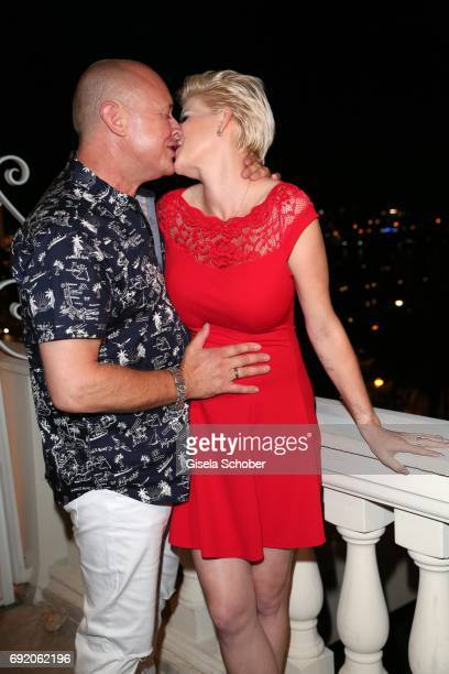 Melanie Mueller pregnant and her husband Mike Bluemer during the Zhero hotel and 'Bahia Mediterraneo' restaurant opening on June 3 2017 in Palma de...