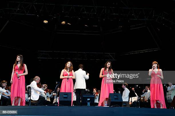 Melanie Nakhla Daisy Chute Laura Wright and Charlotte Ritchie of All Angels perform at Wisley Music Festival at RHS Garden Wisley on June 11 2009 in...