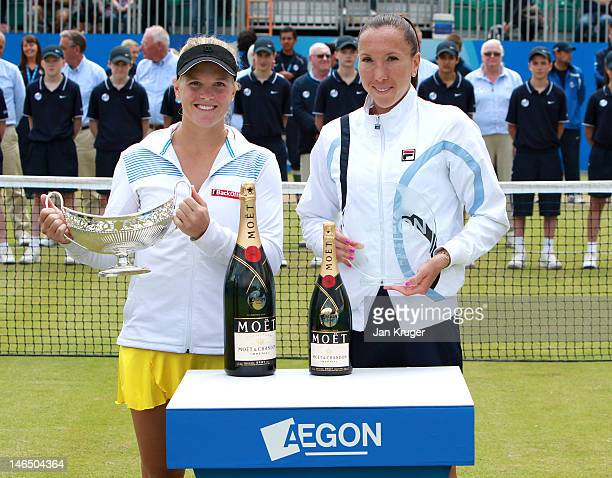 Melanie Oudin of USA and Jelena Jancovic of Serbia pose during the singles final match on day eight of the AEGON Classic at Edgbaston Priory Club on...