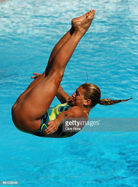 Melanie Rinaldi of Canada competes in the Women's 1m Springboard Final at the Stadio del Nuoto on July 19 2009 in Rome Italy