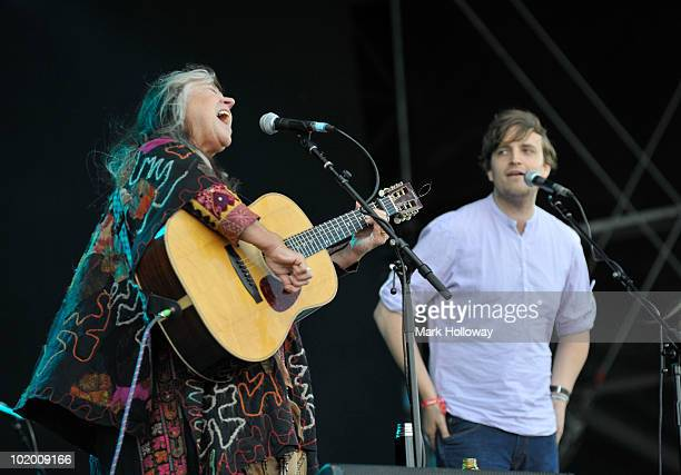 Melanie Safka and James Walsh from Starsailor performing on stage on the second day of Isle of Wight Festival at Seaclose Park on June 12 2010 in...