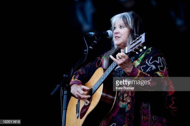 Melanie Safka performs on stage on the second day of Isle Of White Festival at Seaclose Park on June 12 2010 in Newport Isle of Wight