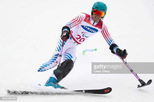 Melanie Schwartz of the United States competes in the Alpine Skiing Women's Slalom Run 1 Standing during day nine of the PyeongChang 2018 Paralympic...