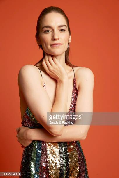 Melanie Scrofano from Syfy's 'Wynonna Earp' poses for a portrait in the Getty Images Portrait Studio powered by Pizza Hut at San Diego 2018 Comic Con...