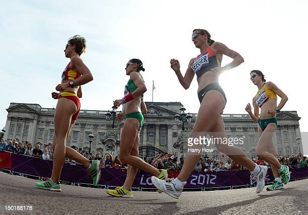Melanie Seeger of Germany competes during the Women's 20km Walk final on Day 15 of the London 2012 Olympic Games on the streets of London on August...