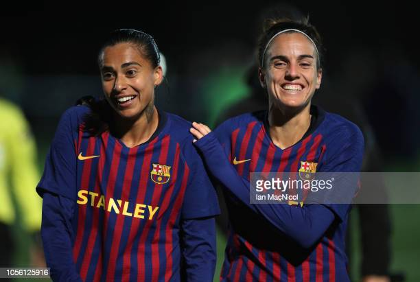 Melanie Serrano and Alexia Putellas of Barcelona celebrate at full during the UEFA Women's Champions League Round of 16 2nd Leg match between Glasgow...