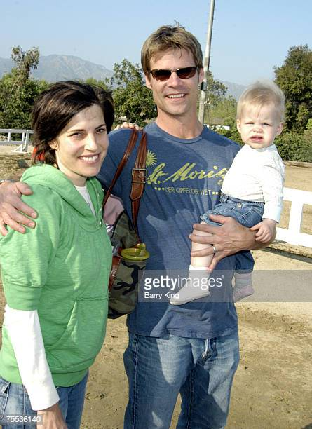 Melanie Shatner Joel Gretsch and daughter Willow at the Los Angeles Equestrian Center in Burbank CA