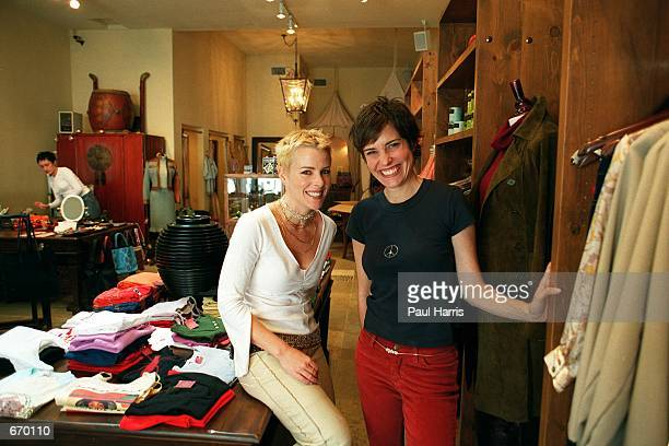Melanie Shatner poses with her business associate Pade Vavra for the photographer from her boutique store Dari September 20 2000 in Studio City CA...