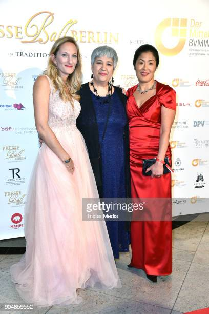 Melanie Simond Seyran Ates and Kyung Sook Kohl attend the 117th Press Ball on January 13 2018 in Berlin Germany