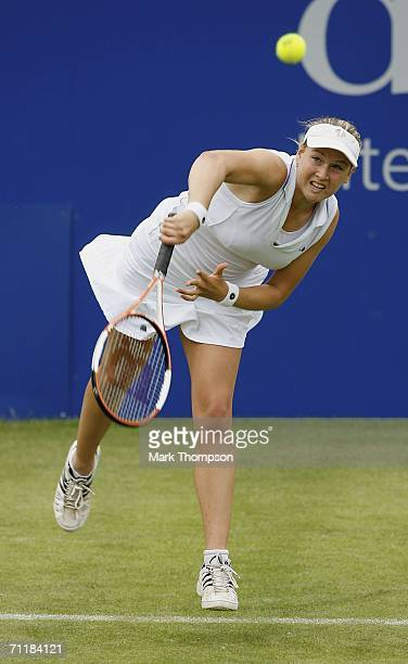 Melanie South of Great Britain serves against Sarah Borwell during the DFS classic tournament at Edgbaston on June 12 2006 in Birmingham England