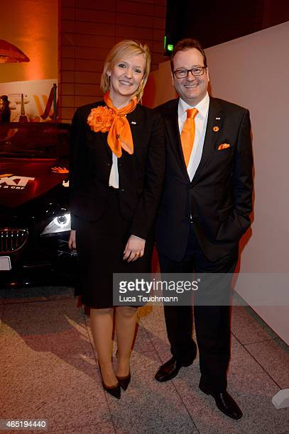 Melanie Stiemert and LarsEric Peters attend The Night The Winners Meet Party Hosted By Sixt on March 3 2015 in Berlin Germany