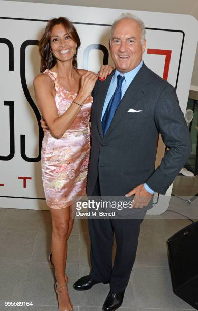 Melanie Sykes and Charles Finch attend the launch party for the inaugural Issue of Drugstore Culture at Chucs Serpentine on July 10 2018 in London...