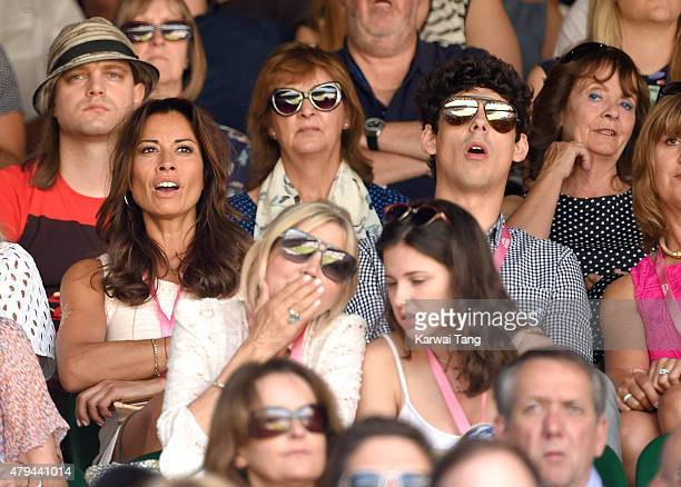 Melanie Sykes and Matt Robertson attend day six of the Wimbledon Tennis Championships at Wimbledon on July 4 2015 in London England