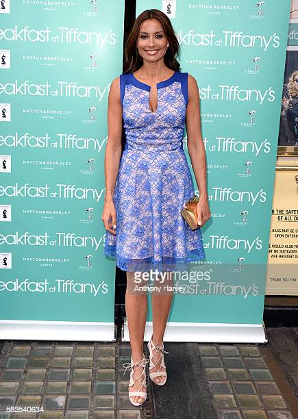 Melanie Sykes arrives for the opening night of Breakfast at Tiffany's at the Theatre Royal Haymarket on July 26 2016 in London England