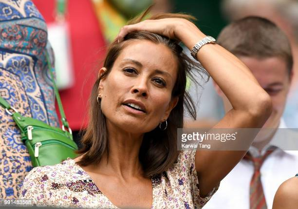 Melanie Sykes attends day three of the Wimbledon Tennis Championships at the All England Lawn Tennis and Croquet Club on July 4 2018 in London England