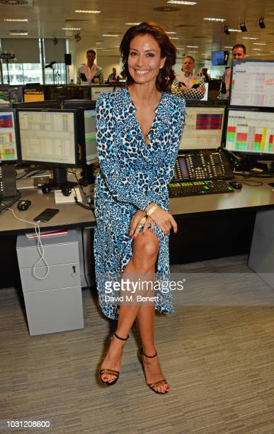 Melanie Sykes representing Together For Short Lives makes a trade at BGC Charity Day at One Churchill Place on September 11 2018 in London England