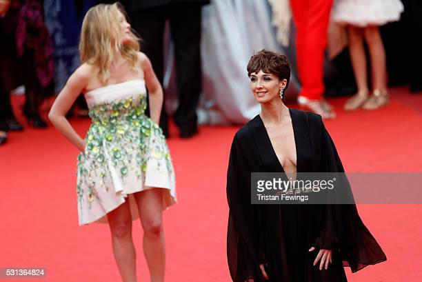 Melanie Thierry and Paz Vega attend 'The BFG ' premiere during the 69th annual Cannes Film Festival at the Palais des Festivals on May 14 2016 in...